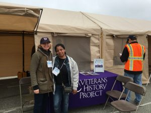 Megan Harris and Tamika Brown in front of the VHP recording tent, Monterey County Stand Down, Seaside, CA, 2016.