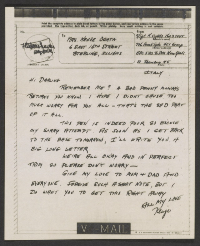 In addition to an oral history, Kenje Ogata donated more than 100 pieces of correspondence, including this reassuring V-Mail message after he was shot down over occupied Europe. Kenje Ogata Collection, Veterans History Project, AFC/2001/001/76800.