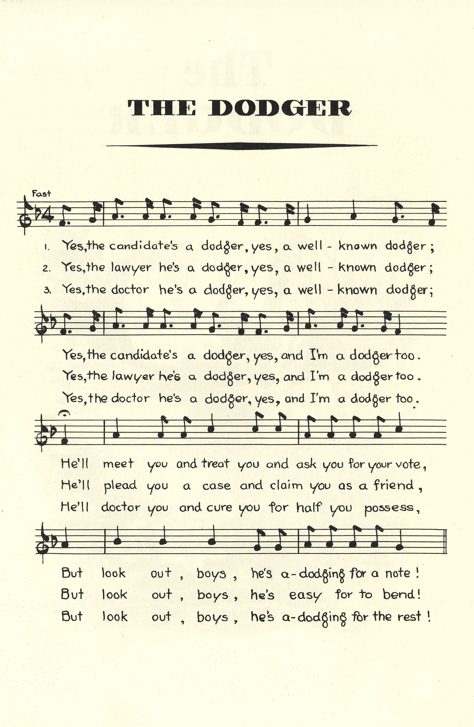 "Notated Music of ""The Dodger."""