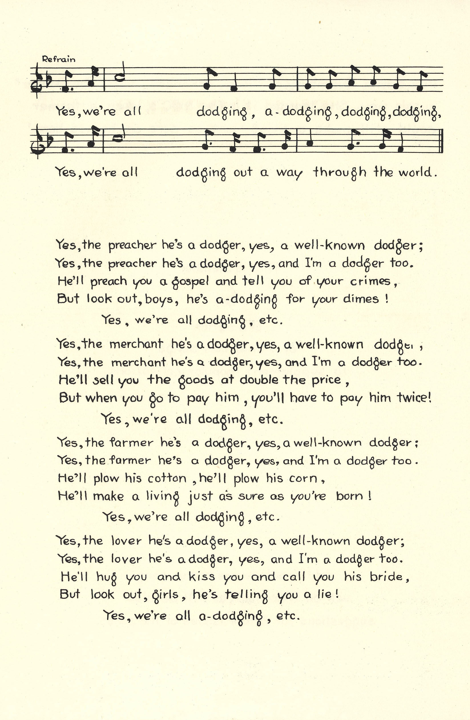 "Notated Music of ""The Dodger"""