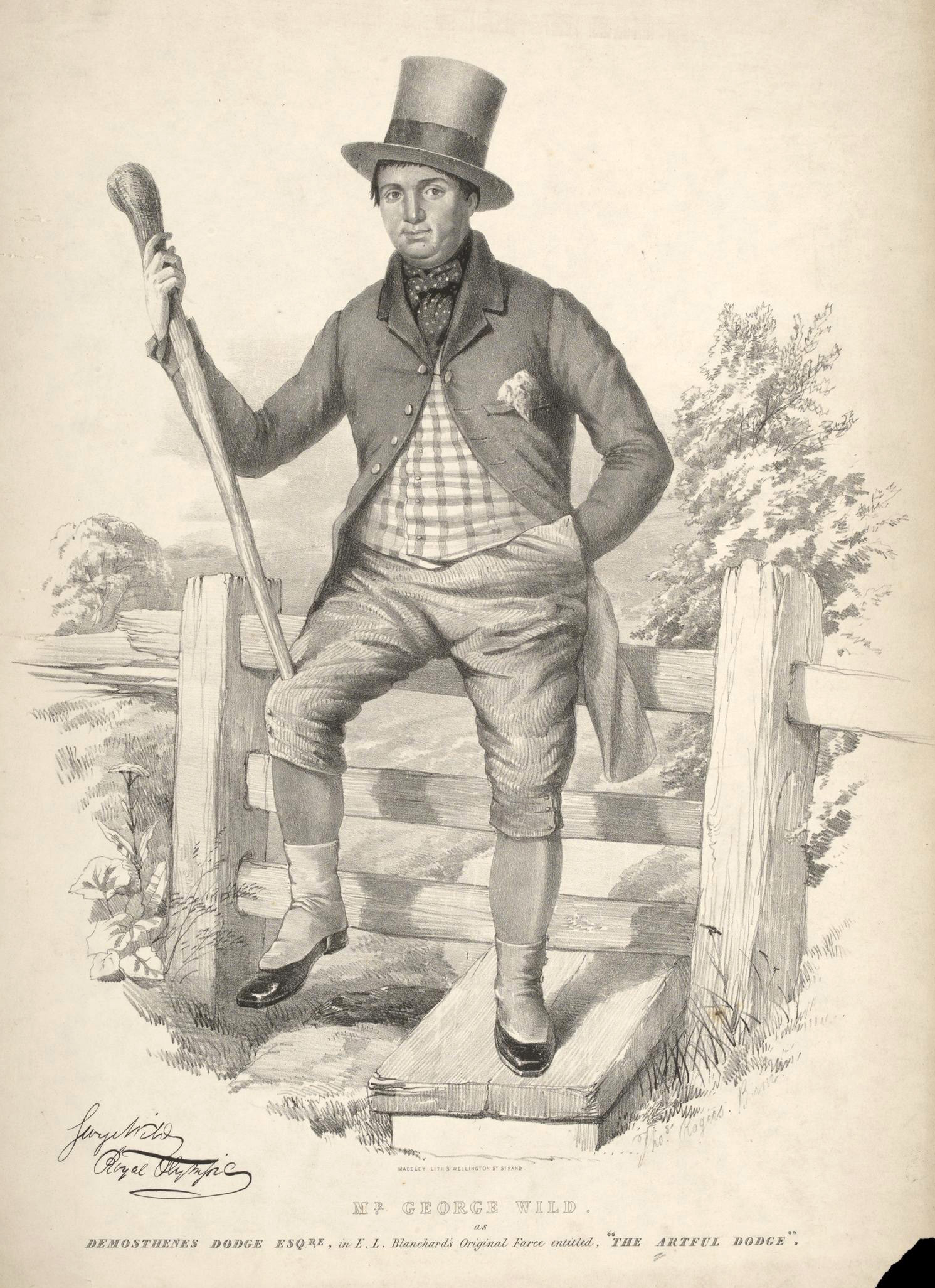 Engraving shows a man wearing a top hat, tail coat, checked vest, cravat, knee breeches, stockings, shiny shoes, and spats, carrying a heavy walking stick and leaning on a fence outdoors.