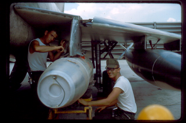 A photograph of two of Fred Gosnell's enlisted men resupplying an aircraft. Fred Gosnell, Jr. collection, Veterans History Project, AFC/2001/001/51998.