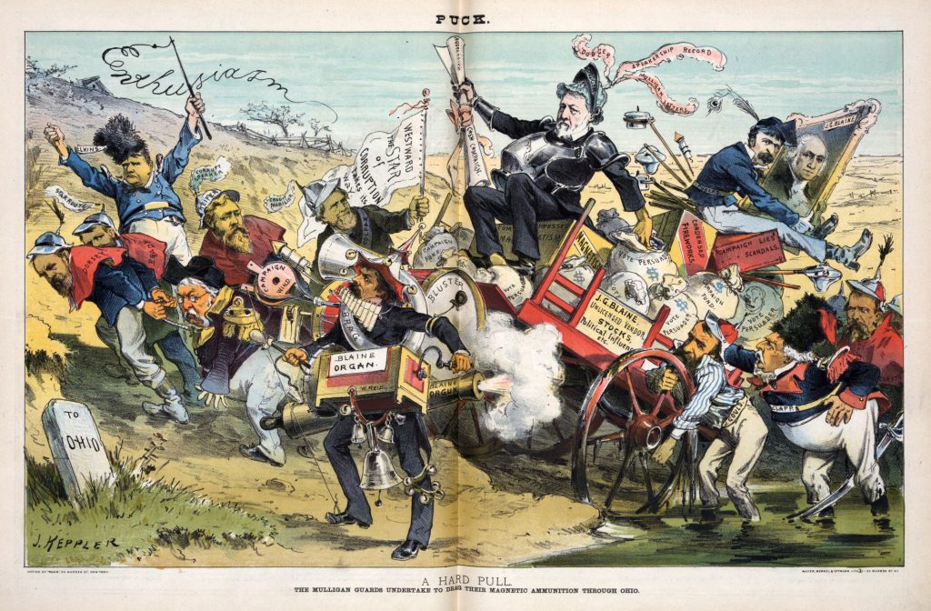 "Illustration shows James G. Blaine dressed as a knight, the plumes of his helmet labeled ""Dodger, Speakership Record, [and] Mulligan Letters"", he holds papers labeled ""Aggressive Cash Campaign"" and has his other hand in a bag of money labeled ""Vote Persuader""; he is riding in a wagon labeled ""J.G. Blaine, Unlicensed Vendor, Stocks, Political Influence, etc."", the seat of which is labeled ""Compressed Magnetism"". W.W. Phelps is riding on the back of the wagon, sitting on boxes of ""Condensed Fireworks"" and ""Campaign Lies, Scandals"", he is holding a portrait painting of George Washington labeled ""J.G. Blaine"". At the front of the wagon, ""Dorsey, Brady, [Robeson, and] Keifer"" are pulling, and at the back ""Gould, Clapp, [and] Clayton"" are pushing. Whitelaw Reid marches alongside as a one-man-band playing a horn labeled ""Brag"", a drum labeled ""Bluster"", an organ labeled ""Blaine Organ"", a bellows labeled ""Campaign Wind"" and firing a cannon labeled ""Blaine Orgun"". Stephen B. Elkins in the background on the left, waving a whip that spells ""Enthusiasm"" and former Vice President Schuyler Colfax, with a ""Credit Mobilier"" plume in his cap, carries the standard that states ""Westward The Star of Corruption Fakes its Way"". They are passing a sign that states ""To Ohio""."