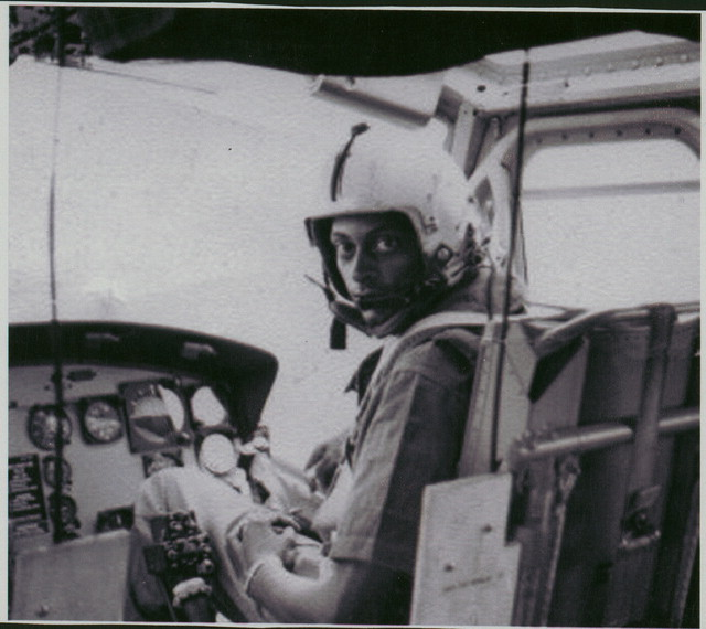 Herbert Metoyer in the cockpit of his helicopter. Herbert R. Metoyer, Jr. collection, Veterans History Project, AFC/2001/001/58363.