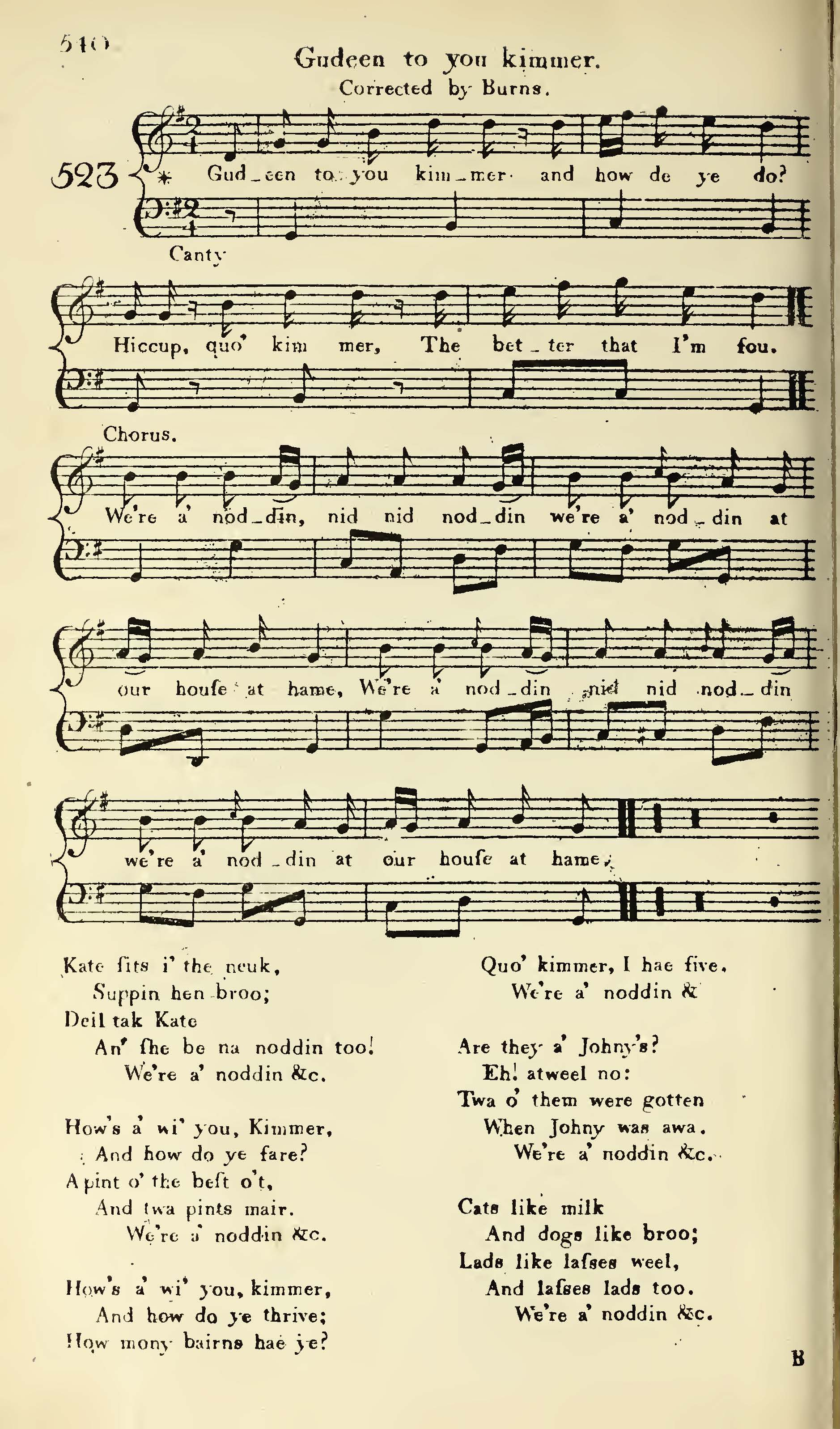 "Page containing musical notation and words of ""Gudeen to You Kimmer"" by Robert Burns, set to the tune ""We're all Noddin'."""