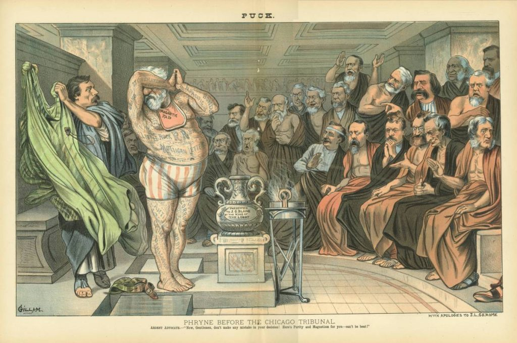 "A man pulls a robe off of James Blaine, revealing that his body is covered in tattoos bearing the names of his various scandals, including ""The Mulligan Letters."" Twenty other men look on."