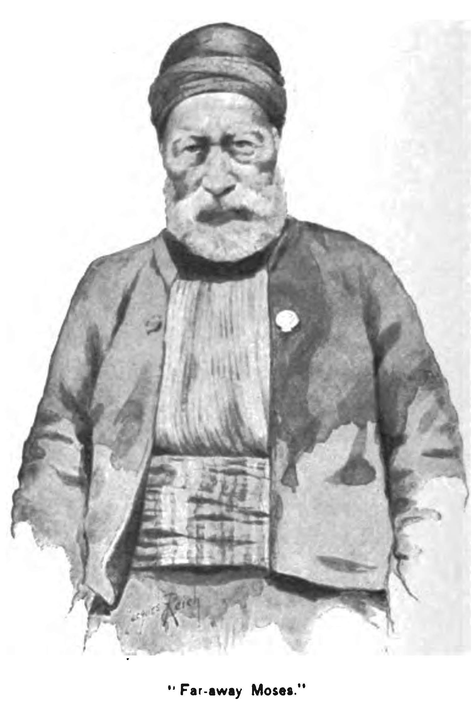 Portrait of Far Away Moses in jacket, waist sash, and head wrap, with a gray beard.