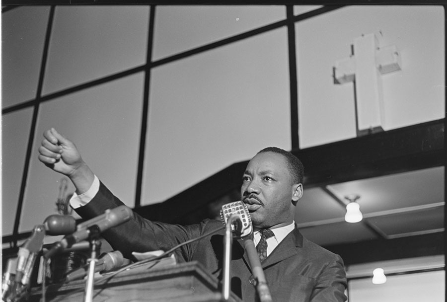 Mass meeting; Dr. Martin Luther King, Jr., speaking