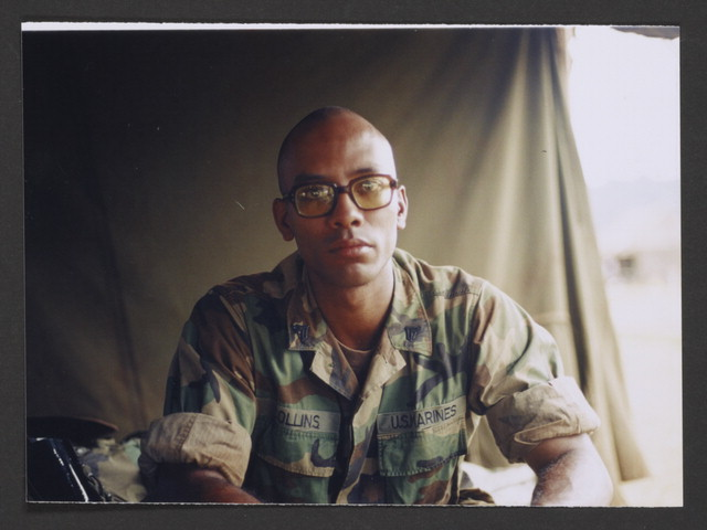 Stephen Collins, Jr. as an infantryman, in a tent, Schofield Barracks, Hawaii. Stephen M. Collins, Jr. Collection. Veterans History Project, AFC/2001/001/11615.