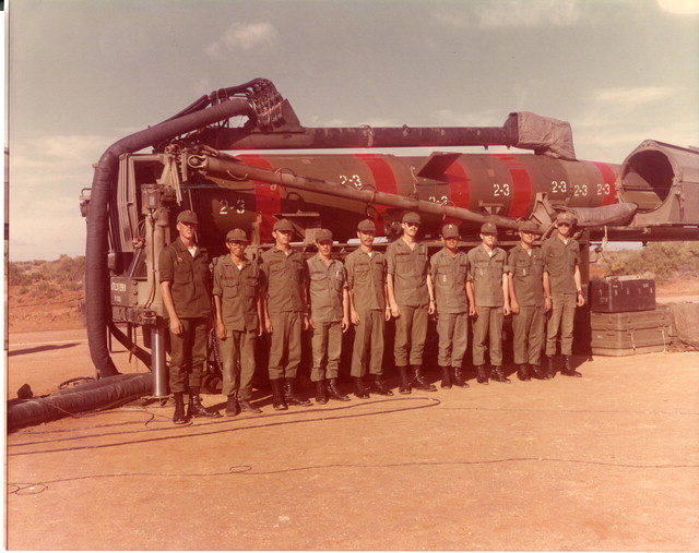 Reynaldo Puente [fourth from right] in a group photo with 1st Platoon and Pershing Nuclear Missile (10/24/1974). Reynaldo Puente Collection. Veterans History Project, AFC/2001/001/85195.