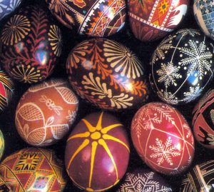 Easter eggs with various designs