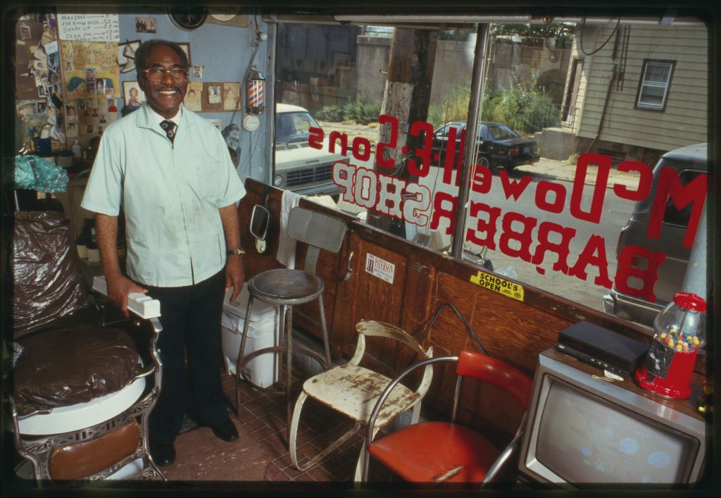 barber Louis McDowell in his Paterson, New Jersey, barber shop, 1994