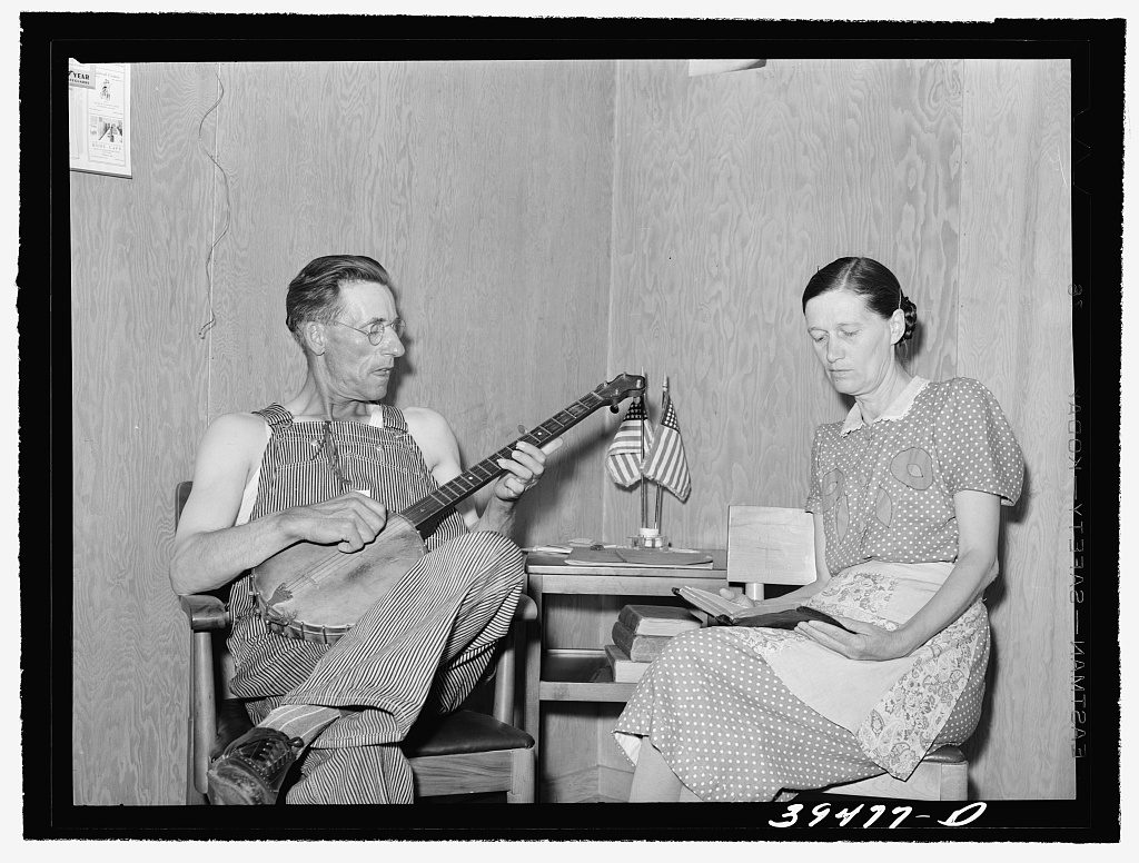 Farm worker and his wife in their cottage home at the FSA (Farm Security Administration) labor camp. Caldwell, Idaho.