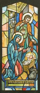 A color drawing for a stained glass window showing Joseph, Mary, and the infant Jesus with a shepherd standing under a star looking in from behind them.