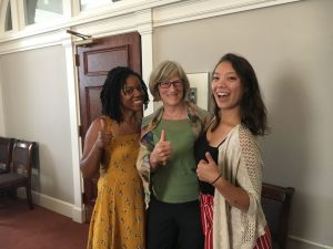 Image of Mackenzie Kwok and Trelani Duncan with Elizabeth Peterson, Director of the American Folklife Center.
