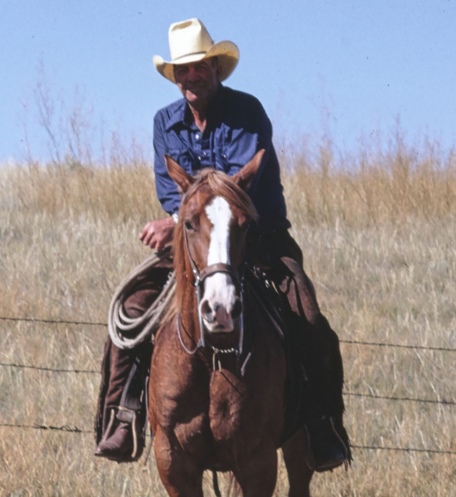 A man wearing a stetson hat seated on a horse.