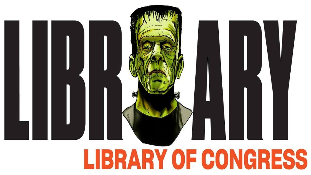 Library Logo with the head of the Frankenstein Monster