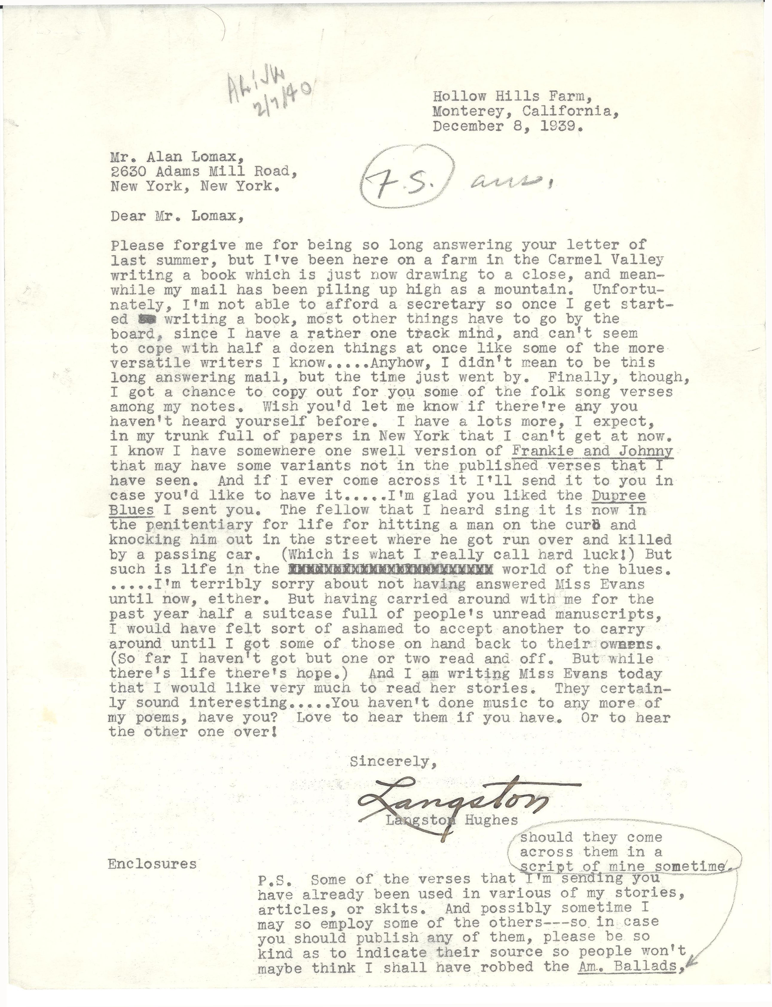 Letter from Langston Hughes to Alan Lomax, 1939.