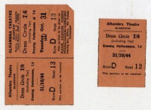 Orange tickets (one an unused ticket, the other a stub) from the 10/31/1944 showing of The Dancing Years at the Alhambra Theater in Glasgow, Scotland.