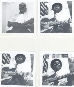 Image featuring four different photographs of blues musician Big Joe Williams as he answered questions and played guitar during an interview with Pete Welding.