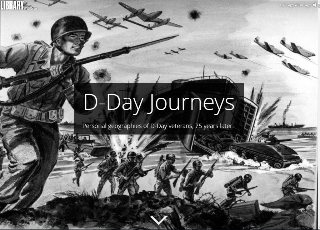 "A screenshot of the VHP Story Map. A black and white sketch of soldiers running across Omaha Beach. A black box with white typeface states ""D-Day Journeys: Personal Geographies of D-Day, 75 years later"""