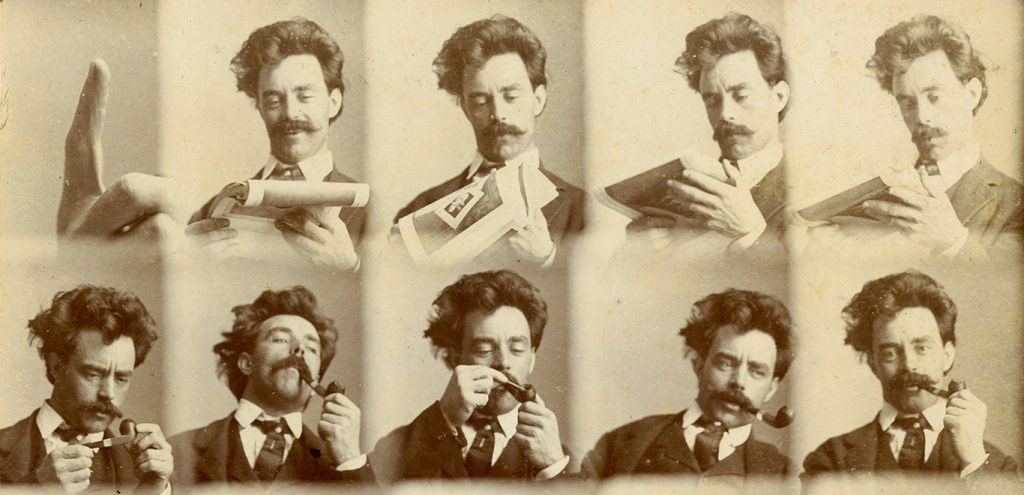 A series of 10 small head-and-shoulders portraits of Charles J. Finger reading a magazine and lighting a pipe. The first shows only his index finger.