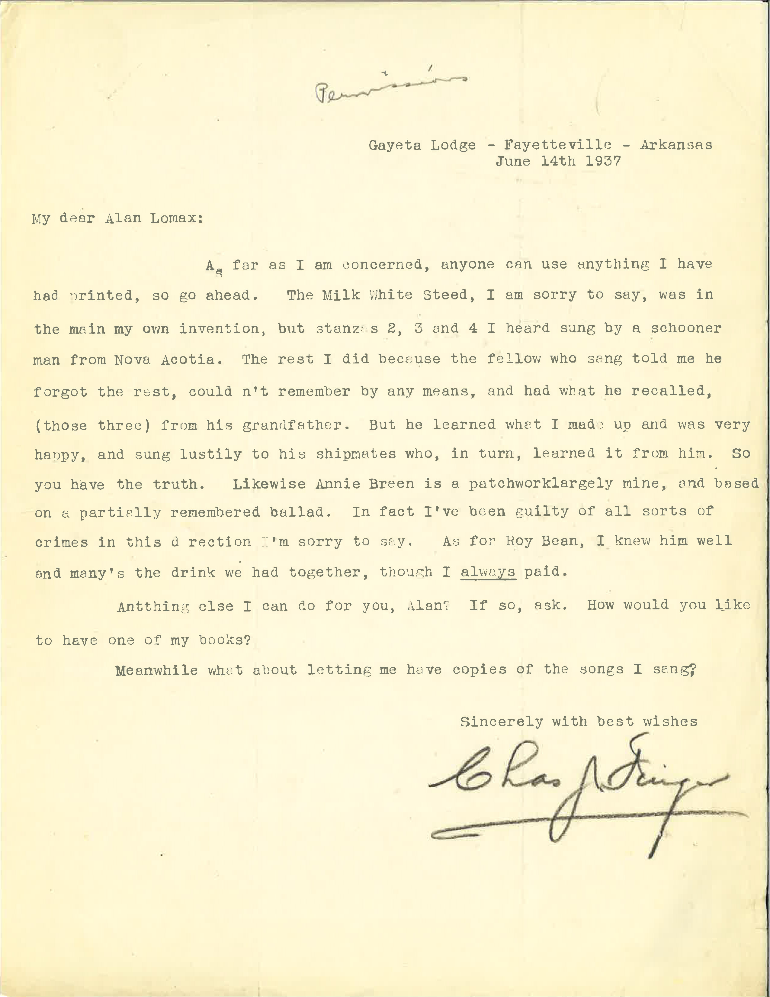 Letter from Charles J. Finger to Alan Lomax. The relevant portion is quoted in the blog text.