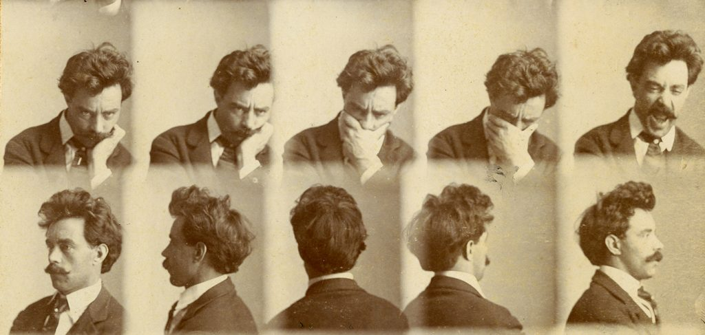 A series of 10 small head-and-shoulders portraits of Charles J. Finger with his chin in his hand, then with his hand covering his mouth and eyes, then apparently sneezing, then turning his back to the camera, and finally displaying his profile.