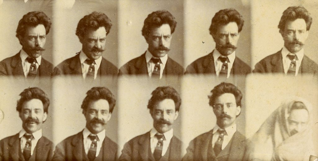 A series of 10 small head-and-shoulders portraits of Charles J. Finger looking surprised, then angry, then laughing, then looking serious, and finally wearing a blanket as a head wrap.