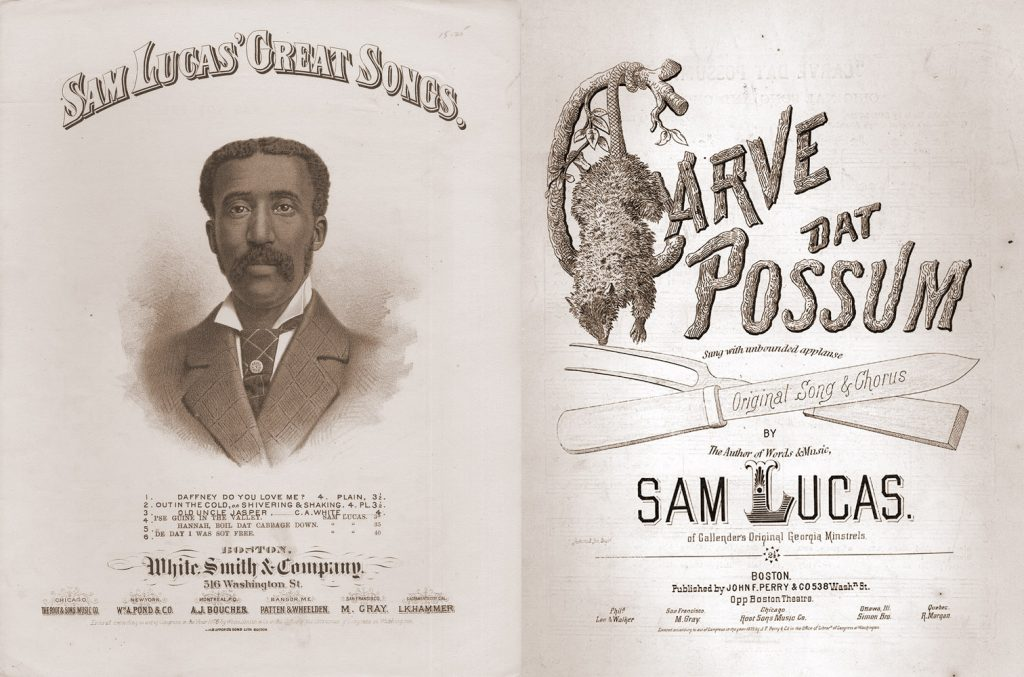 "Left, portrait of African American man in suit and tie. Right, a drawing of an opossum and a fork and knife, along with the words ""Carve Dat Possum,"" from the sheet music cover."