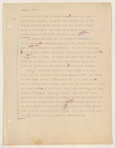 Scanned manuscript page featuring typed transcription of interview Alan Lomax conducted with Jelly Roll Morton in 1938.