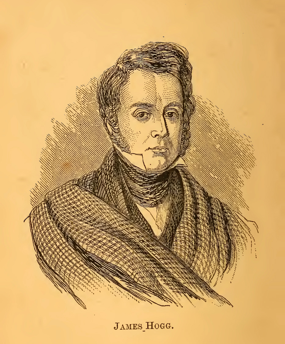 Bust portrait of James Hogg. Engraving.