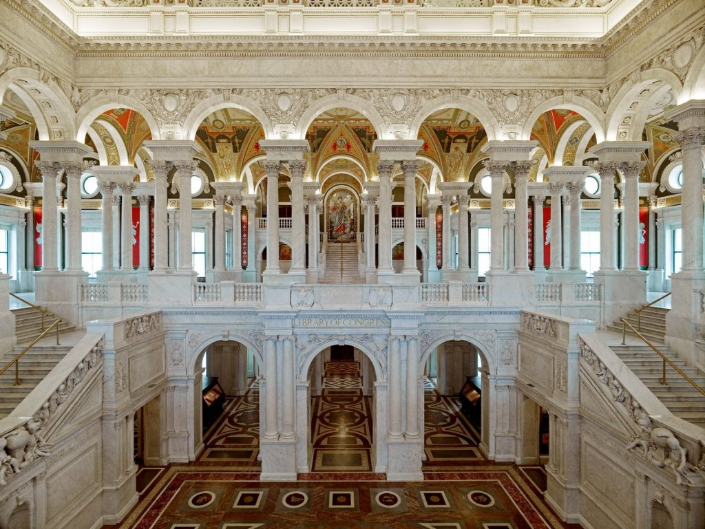 Great Hall. View of first and second floors, with Minerva mosaic in background. Library of Congress Thomas Jefferson Building, Washington, D.C.]