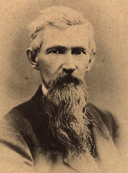 Head and shoulders portrait of Dan DeQuille with a long beard