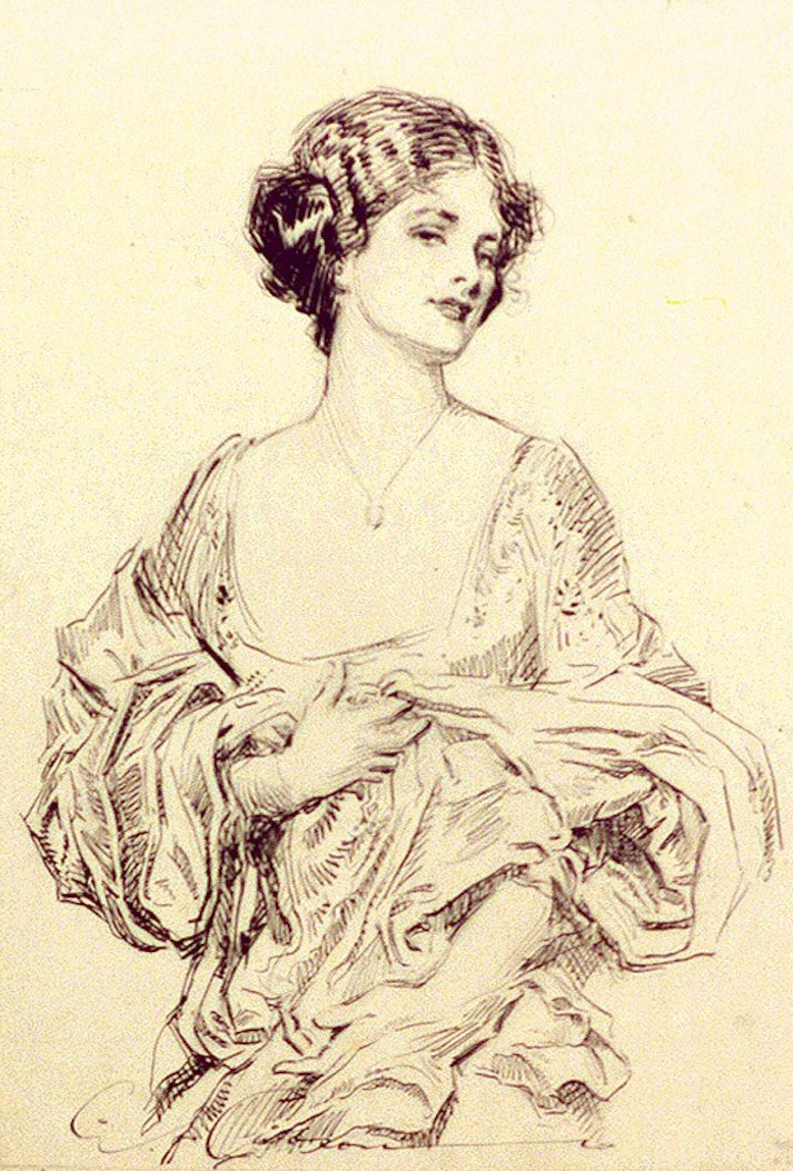Pen and ink portrait of a young woman, half-length.