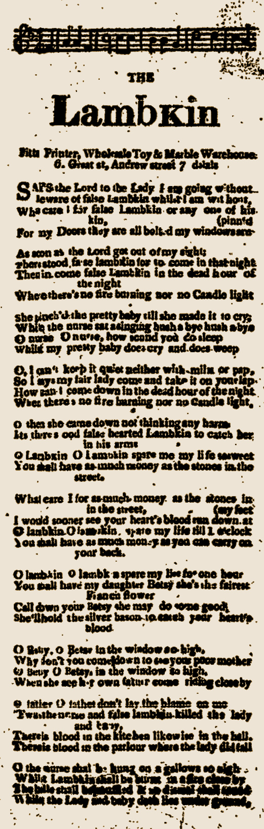 "An old broadside slip containing words to another version of the ""Bolakins"" song. The broadside is in poor condition and hard to read."