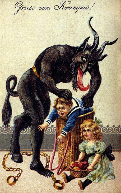 "Greeting card showing Krampus, a Christmas demon, abducting two children. The card reads ""Gruss vom Krampus!"" which means ""Greetings from Krampus!"""