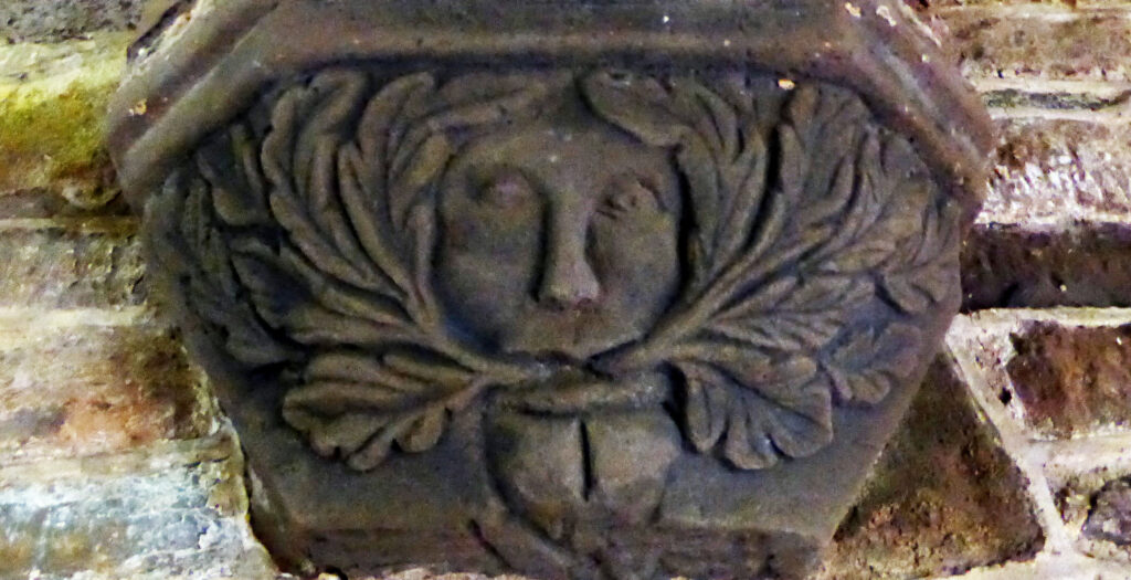 A foliate head carved into a stone corbel in a church in Llangwm, Wales. It's a human face with leaves coming out of the mouth to the left and right, then curving up around the head.