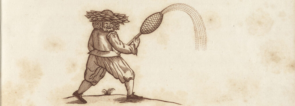 Engraving of a man with a foliate mask and a leafy crown carrying a stick with a case of fireworks on the end, from which sparks emerge.