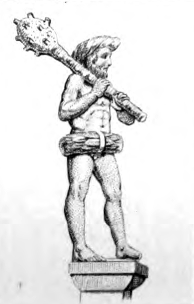 A drawing of a sculpture of a naked, bearded wild man with a huge club and wreaths of leaves around his head and his pelvis.