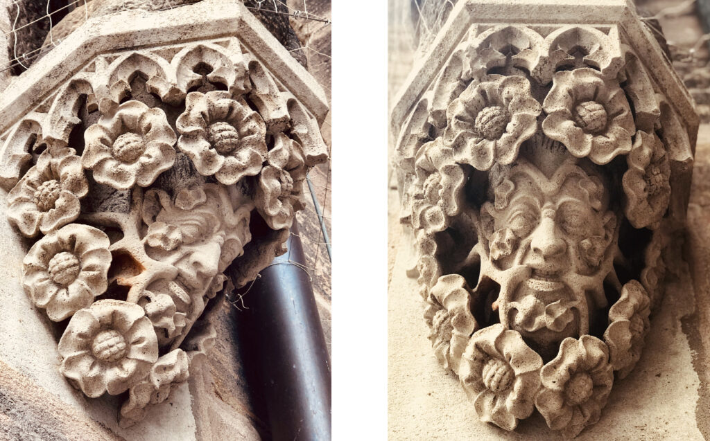 Two views of a Green Man on the exterior of St. Lorenz Church, Nuremberg (Nürnberg), Germany. The carving shows a man's face with branches emerging from his mouth, growing into a bush that surrounds his face with large flowers.