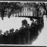 Crowd waiting in line outside of White House for New Year reception