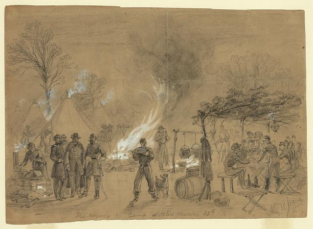 Thanksgiving in camp sketched Thursday 28th 1861. Alfred R. Waud.