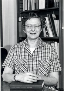 Ruth S. Freitag with Halley's Comet Bibliography (Library of Congress, April 1985).