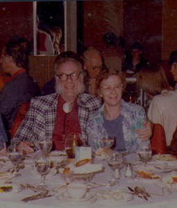 Photograph of Ruth S. Freitag with Isaac Asimove on an Astonomy Cruise, August 1980.