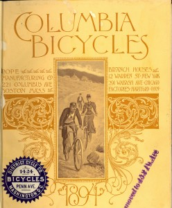 Cover of the 1894 Columbia Bicycles catalog from Pope Manufacturing