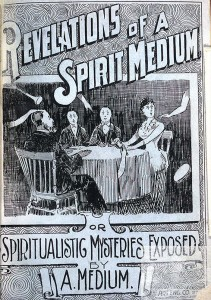 "Title page of ""Revelations of a spirit medium,"" with illustration of a seance, published in St. Paul, Minnesota, 1891"