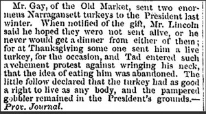 President Lincoln pardons a turkey. From the Hartford Daily Courant (Hartford, CT), May 11, 1865.