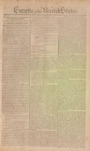 Thanksgiving Proclamation published in the Gazette of the United States (New York, NY), October 10, 1789.
