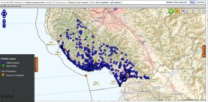BISON generated map of Red-tailed hawk (Buteo jamaicensis)observations in Santa Cruz County, CA
